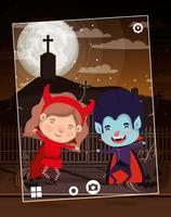 scène de la saison d & # 39; halloween avec des enfants sur le cimetière vecteur