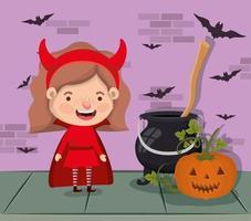 scène de la saison halloween avec une fille dans un costume de diable vecteur
