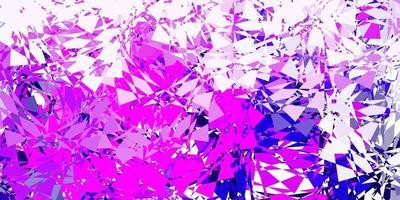 toile de fond de vecteur violet clair, rose avec des triangles, des lignes.