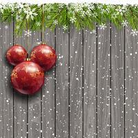 Boules de Noël sur un fond en bois