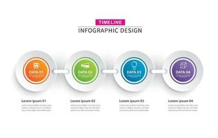 papier cercle chronologie infographie avec ensemble de 4 modèles de données vecteur