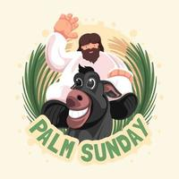 dimanche plat des palmiers avec jésus et âne vecteur
