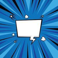 fond de demi-teintes comique bleu avec bulle de dialogue vecteur