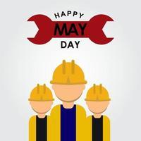 happy may day logo vector illustration de conception de modèle