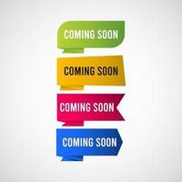 à venir bientôt étiquette étiquette logo vector illustration de conception de modèle