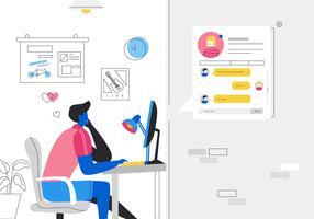 Garçon taquiner une fille en Chatroom en ligne Rencontres Apps Illustration vectorielle vecteur