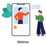 webinaire ou concept d'application de réunion en ligne
