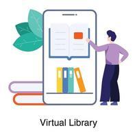 concept d'application de bibliothèque virtuelle vecteur