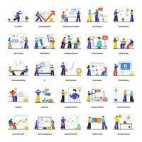 ensemble de concept de travail d & # 39; équipe et de construction d & # 39; équipe vecteur
