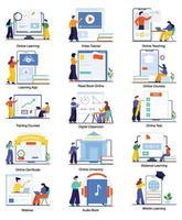 Ensemble de concepts d'apprentissage en ligne et d'éducation virtuelle vecteur