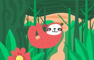 Sloth Jungle Paysage Illustration Vector