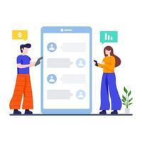 concept de communication d'entreprise en ligne