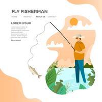 Pêcheur plat moderne mouche avec illustration vectorielle fond minimaliste vecteur