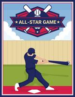 Affiche de vecteur de base-ball All-Star