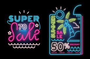 Grande vente d'été sur la lampe au néon bannière signe vecteur