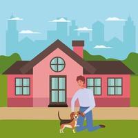jeune homme avec mascotte de chien mignon vecteur