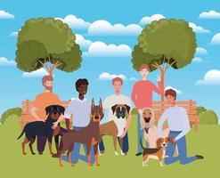 groupe d & # 39; hommes avec des mascottes de chiens mignons dans le camp vecteur