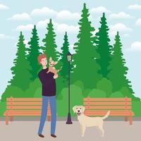 jeune homme, à, mignon, chien, mascotte, dans parc vecteur