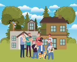 Groupe d & # 39; hommes avec des mascottes de chiens mignons dans une maison en plein air vecteur