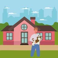 homme, levage, chien, mascotte, dans, les, extérieur, maison vecteur