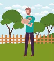 jeune homme, levage, mignon, chien, mascotte, dans, camp vecteur