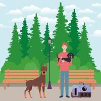 jeune homme avec des mascottes de chiens mignons dans le parc vecteur