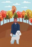 jeune homme, à, mignon, chien, mascotte, dans, les, camp automne vecteur