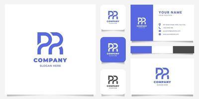 logo lettre pr géométrique simple et minimaliste avec modèle de carte de visite vecteur