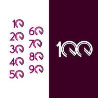 100 ans anniversaire célébration ligne violette vector illustration de conception de modèle