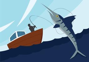 Illustration de pêche à l'espadon vecteur