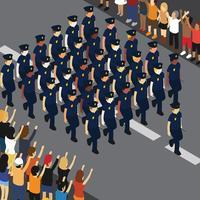 Illustration du défilé de police vecteur