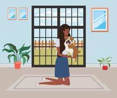 Jeune femme afro soulevant un chien mignon à l'intérieur vecteur