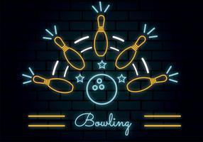 Conception de vecteur au néon Bowling