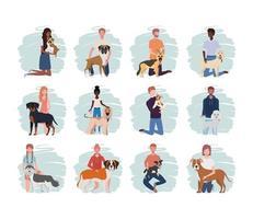 jeunes avec des personnages de mascottes de chiens mignons vecteur