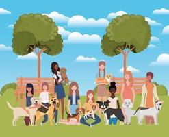groupe de femmes avec des chiens mignons dans le parc vecteur