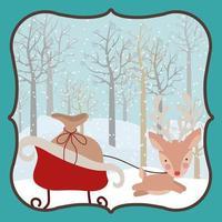 joyeux noël carte avec renne et traîneau vecteur