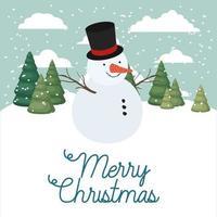 joyeux noël carte avec bonhomme de neige vecteur