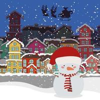 joyeux noël avec personnage de bonhomme de neige vecteur