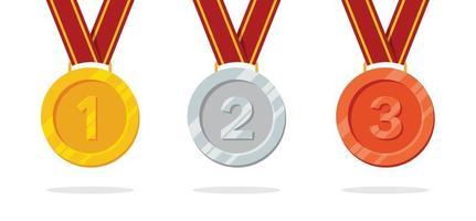médaille d'or, d'argent et de bronze pour le tournoi gagnant vecteur