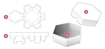 boîte de forme hexagonale courte et couvercle modèle découpé vecteur