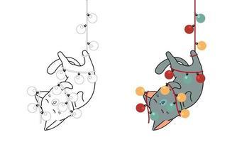 chat est suspendu à un fil électrique, coloriage de dessin animé pour les enfants vecteur
