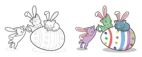 chats lapin avec oeuf géant, coloriage pour les enfants