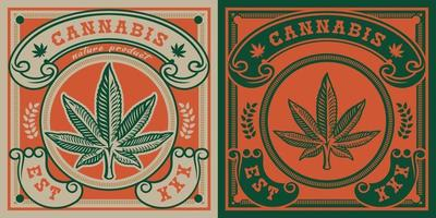 emblème de vecteur de feuille de cannabis