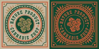 badge vintage de feuille de cannabis