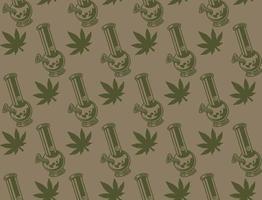 modèle sans couture vintage avec une feuille de cannabis
