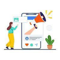 concept de marketing des médias sociaux vecteur