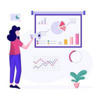 analyste féminin donnant le concept de présentation