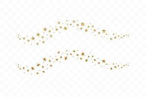étoiles dorées tombantes. nuage d'étoiles dorées isolé
