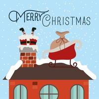 joyeux noël carte avec le père noël dans la cheminée