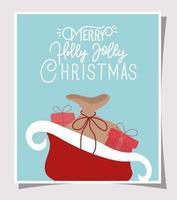 joyeux noël carte avec traîneau et cadeaux